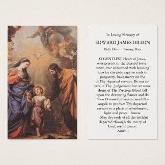 Begräbnis- Gebets-Karten-Fest der heiligen Familie Visitenkarte