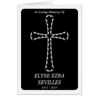 Begräbnis- Mitteilung: elegantes Kreuz Grußkarte
