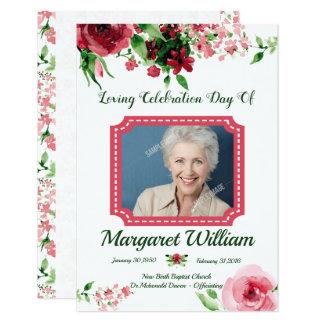 Begräbnis- Programm-Karten-mit Blumenschablone Karte