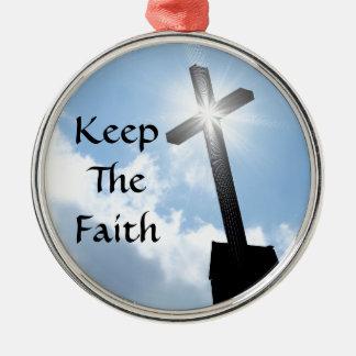 Behalten Sie das Glauben-Kreuz auf blaue Rundes Silberfarbenes Ornament