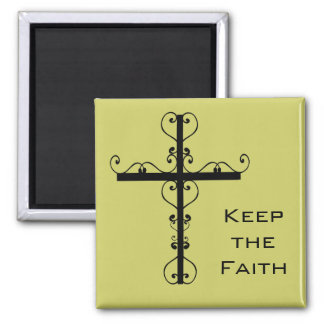 Behalten Sie den Glauben-Kreuz-Magneten Quadratischer Magnet