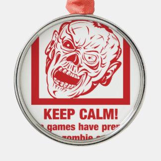 Behalten Sie die ruhigen, Videospiele vorbereitete Rundes Silberfarbenes Ornament