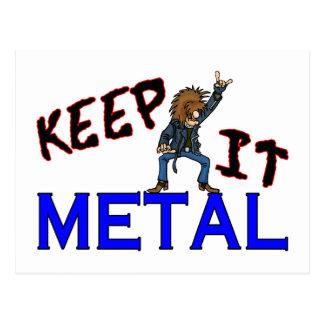 Behalten Sie es Metall Postkarte