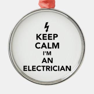 Behalten Sie Ruhe, die ich ein Elektriker bin Rundes Silberfarbenes Ornament