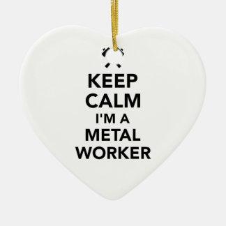 Behalten Sie Ruhe, die ich eine Metallarbeitskraft Keramik Herz-Ornament