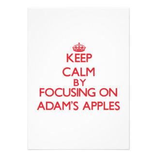 Behalten Sie Ruhe, indem Sie auf Adams Äpfel sich Ankündigungen