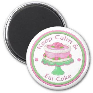 Behalten Sie Ruhe u. essen Sie Kuchen-Magneten Runder Magnet 5,7 Cm
