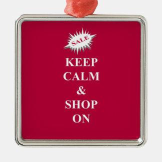 behalten Sie Ruhe u. kaufen Sie an Quadratisches Silberfarbenes Ornament