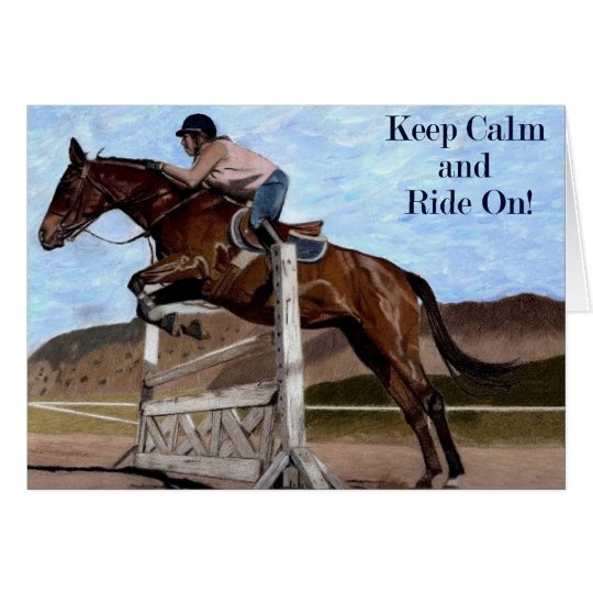 Behalten Sie Ruhe u. reiten Sie an! Pferdepullover Karte