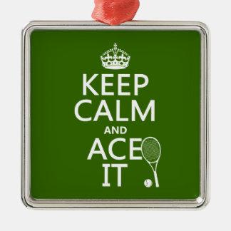 Behalten Sie Ruhe und Ace sie (Tennis) (in Silbernes Ornament