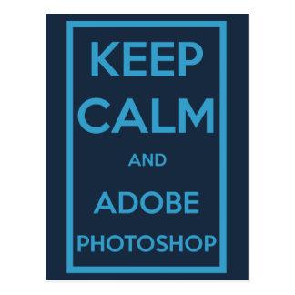 Behalten Sie Ruhe und Adobe Photoshop Postkarte