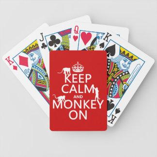 Behalten Sie Ruhe und Affen an - alle Farben Bicycle Spielkarten