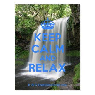 Behalten Sie Ruhe und entspannen Sie sich Postkarte