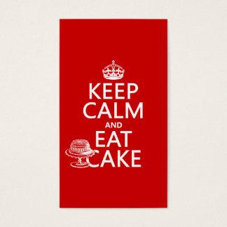 Behalten Sie Ruhe und essen Sie Kuchen Visitenkarte