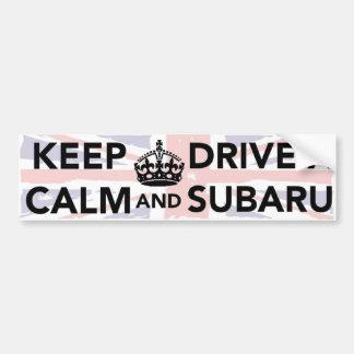 Behalten Sie Ruhe und fahren Sie einen Subaru Autoaufkleber