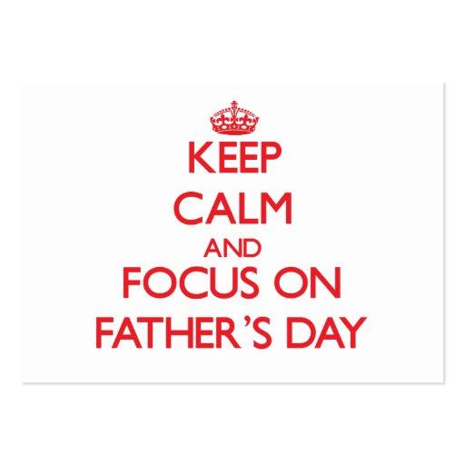 Behalten Sie Ruhe und Fokus am Vatertag Visitenkarten Vorlagen