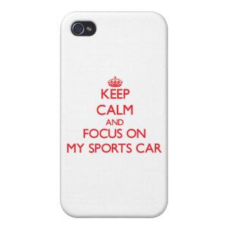 Behalten Sie Ruhe und Fokus auf meinem Sport-Auto iPhone 4 Schutzhülle