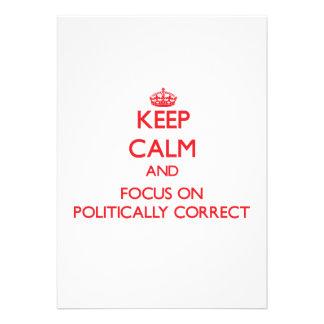 Behalten Sie Ruhe und Fokus auf politisch Individuelle Einladungen