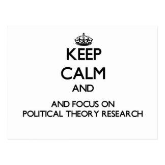 Behalten Sie Ruhe und Fokus auf politische Postkarte
