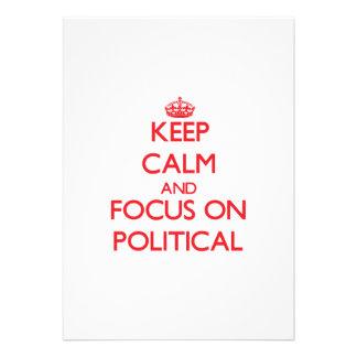 Behalten Sie Ruhe und Fokus auf politischem Individuelle Ankündigskarten