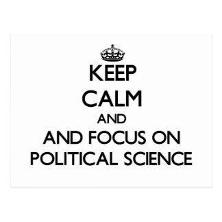 Behalten Sie Ruhe und Fokus auf politischer Postkarten