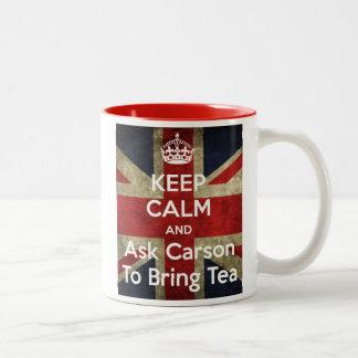 Behalten Sie Ruhe und fragen Sie für Tee Zweifarbige Tasse