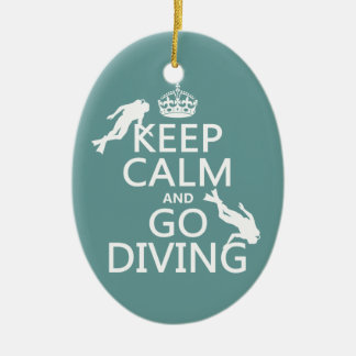 Behalten Sie Ruhe und gehen Sie Ovales Keramik Ornament