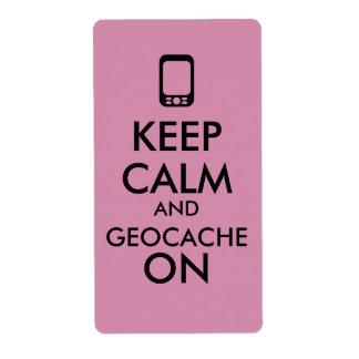 Behalten Sie Ruhe und Geocache auf Gewohnheit GPS Versandetikett