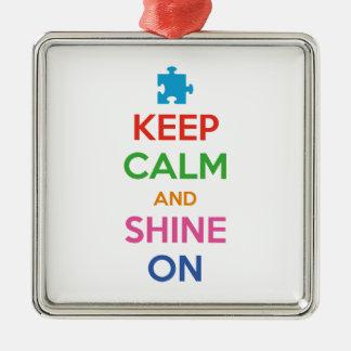 Behalten Sie Ruhe und glänzen Sie an Quadratisches Silberfarbenes Ornament