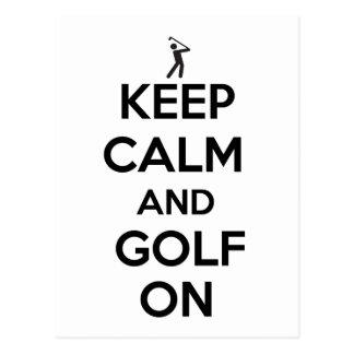 Behalten Sie Ruhe und Golf an Postkarte