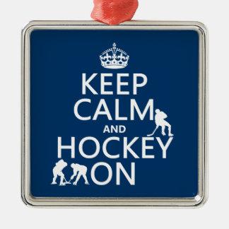 Behalten Sie Ruhe und Hockey auf (in irgendeiner Silbernes Ornament