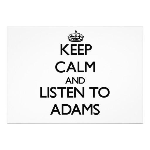 Behalten Sie Ruhe und hören Sie auf Adams Individuelle Ankündigungen