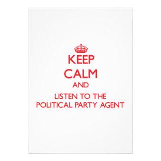 Behalten Sie Ruhe und hören Sie zum politischen Einladungskarte