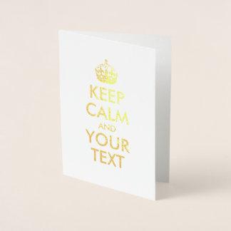 Behalten Sie Ruhe und Ihren Text Folienkarte