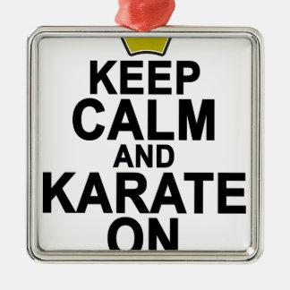 Behalten Sie Ruhe und Karate On.png Quadratisches Silberfarbenes Ornament