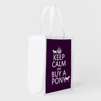 Behalten Sie Ruhe und kaufen Sie ein Pony - alle Wiederverwendbare Einkaufstasche