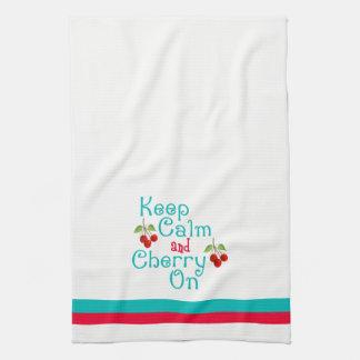 Behalten Sie Ruhe und Kirsche auf Küchen-Tuch Küchenhandtücher