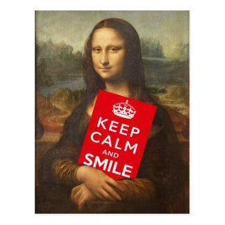 Behalten Sie Ruhe und lächeln Sie Postkarte