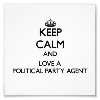 Behalten Sie Ruhe und Liebe ein politischer Foto Drucke