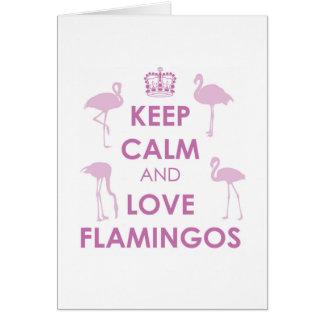 Behalten Sie Ruhe-und Liebe-Flamingos Karte