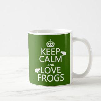 Behalten Sie Ruhe-und Liebe-Frösche (irgendeine Kaffeetasse