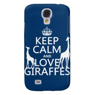 Behalten Sie Ruhe-und Liebe-Giraffen - alle Farben Galaxy S4 Hülle
