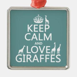 Behalten Sie Ruhe-und Liebe-Giraffen (irgendeine Quadratisches Silberfarbenes Ornament