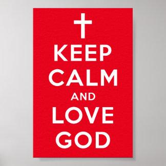 """Behalten Sie Ruhe-und Liebe-Gott-Plakat 4 x 6"""" Poster"""