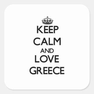 Behalten Sie Ruhe und Liebe Griechenland Quadratischer Aufkleber