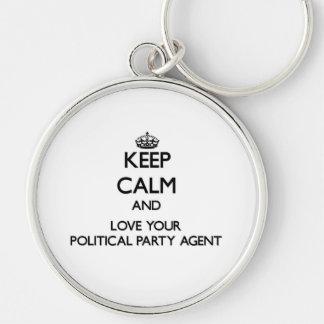 Behalten Sie Ruhe und Liebe Ihr politischer Schlüsselband