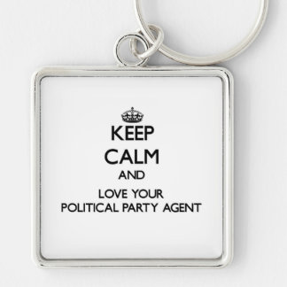 Behalten Sie Ruhe und Liebe Ihr politischer Silberfarbener Quadratischer Schlüsselanhänger