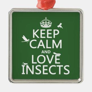 Behalten Sie Ruhe-und Liebe-Insekten (irgendeine Quadratisches Silberfarbenes Ornament