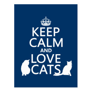Behalten Sie Ruhe-und Liebe-Katzen Postkarte