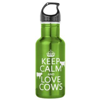 Behalten Sie Ruhe-und Liebe-Kühe (alle Farben) Edelstahlflasche